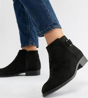 wide fit flat ankle boot