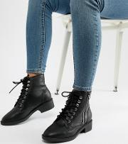 wide fit lace up flat ankle boot