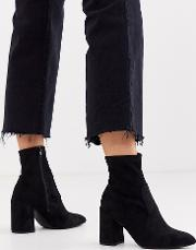 Suedette Pointed Heeled Sock Boots