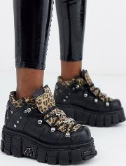 Chunky Leather Lace Up Trainers Leopard