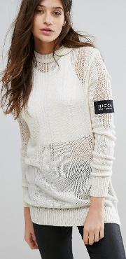 ladder knit jumper