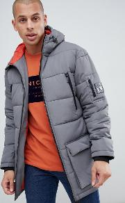 nicce long line puffer jacket  grey with hood