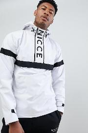 nicce overhead windbreaker jacket  white exclusive to asos
