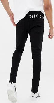 Nicce Skinny Fit Jeans With Logo Exclusive To