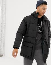 Long Line Puffer Jacket With Hood