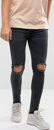 Super Skinny Jeans With Rips And Unrolled Hem