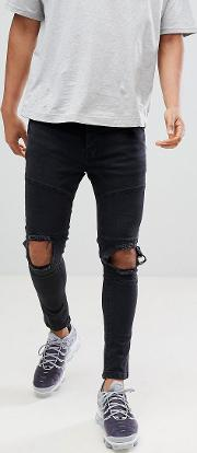 Super Skinny Panelled Ripped Jeans