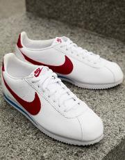 Cortez Leather Trainers With Red Swoosh