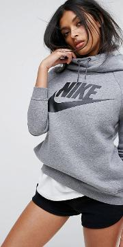 rally pullover hoodie in grey with large futura logo