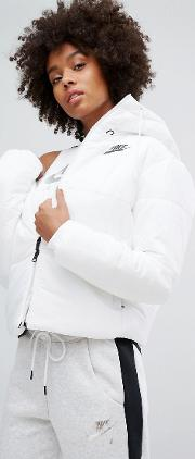 Short Padded Jacket With Branded Waistband