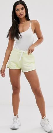 Washed Neon High Waist Runner Shorts