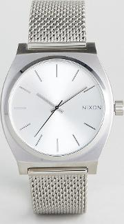 time teller luxe silver mesh watch