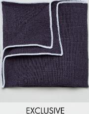 linen pocket square with contrast trim