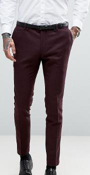 Super Skinny Suit Trousers With Lux Tonal Print