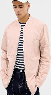 zip front overshirt in pink with long sleeves