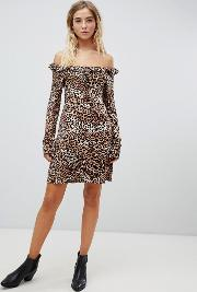 Bardot Leopard Print Tea Dress With Ruched Neck