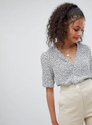 button front tea blouse in star print
