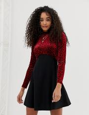 High Neck Skater Dress With Contrast Panels