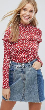 Nobody's Child High Neck Blouse In Floral With Frill Detail