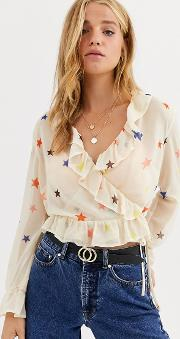 Wrap Front Blouse With Ruffle Sleeve