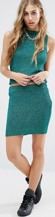 glam knitted skirt with lurex