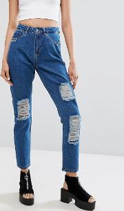 high waist mom jean with piercing pocket detail