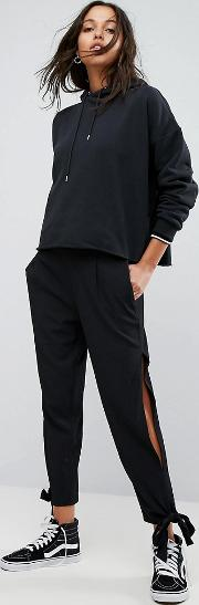 High Waisted Trouser With Tie Detail Cuff