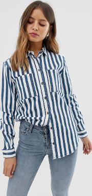 Oversized Denim Stripe Shirt