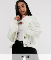 Chunky Ribbed Button Front V Neck Cardigan