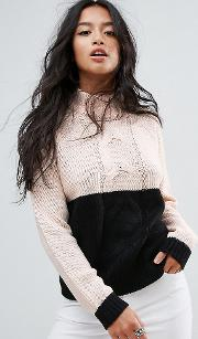 Contrast Cable Knit Jumper