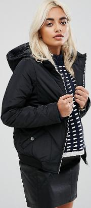 Quilted Padded Cropped Jacket With Hood