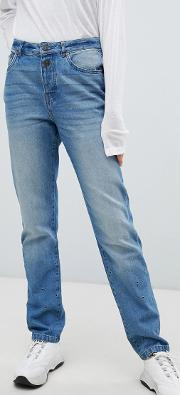 straight leg jean with eyelet detail