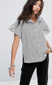 stripe shirt with frill sleeve