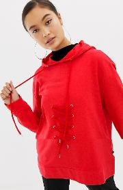 Sweatshirt With Lace Up Tie