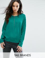 clean blouse with zip front detail