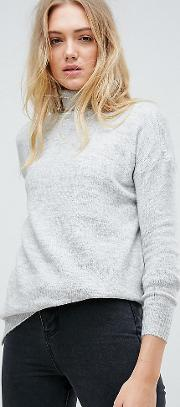Roll Neck Jumper With Stepped Hem
