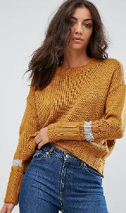 Round Neck Cuff Jumper