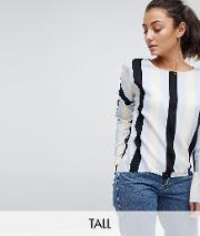 stripe blouse with frill detail