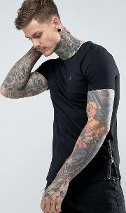 Longline Muscle Fit Crew Neck  Shirt With Zip Detail