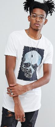 Longline Muscle Printed  Shirt With Logo