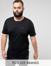 plus longline muscle fit crew neck  shirt with zip detail