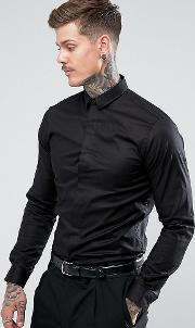 Skinny Smart Shirt With Point Collar