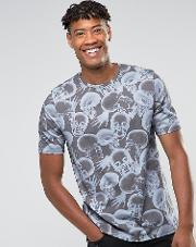 Tall Relaxed Shoulder  Shirt In Skull Print