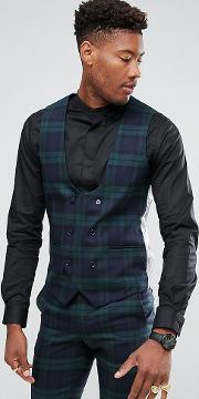 tall super skinny suit waistcoat  check