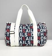 large duffle bag in all over logo print