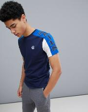 slim fit  shirt with sleeve print  navy