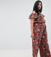 Floral Bardot Jumpsuit With Frill Detail
