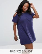 plus swing dress with cold shoulder