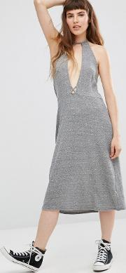 Elysia Halter Dress With Plunge Front