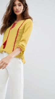 Blouse With Tassel Detail